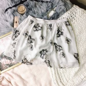 Frenchi • Cream/Grey Flower/floral Skater Skirt